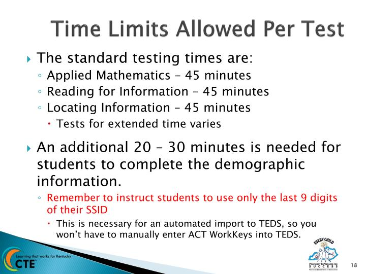 Time Limits Allowed Per Test