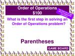 order of operations 100