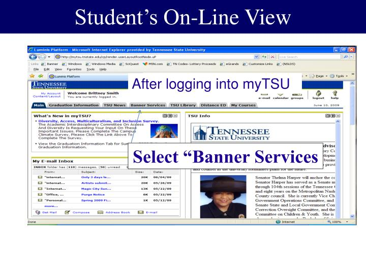 Student's On-Line View