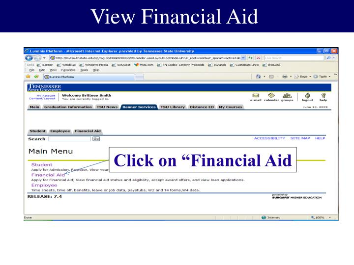 View Financial Aid