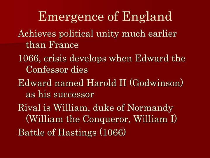 Emergence of England
