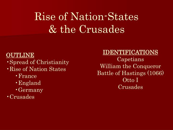 Rise of nation states the crusades