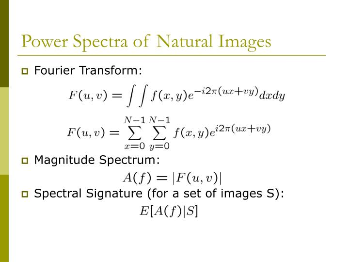 Power Spectra of Natural Images