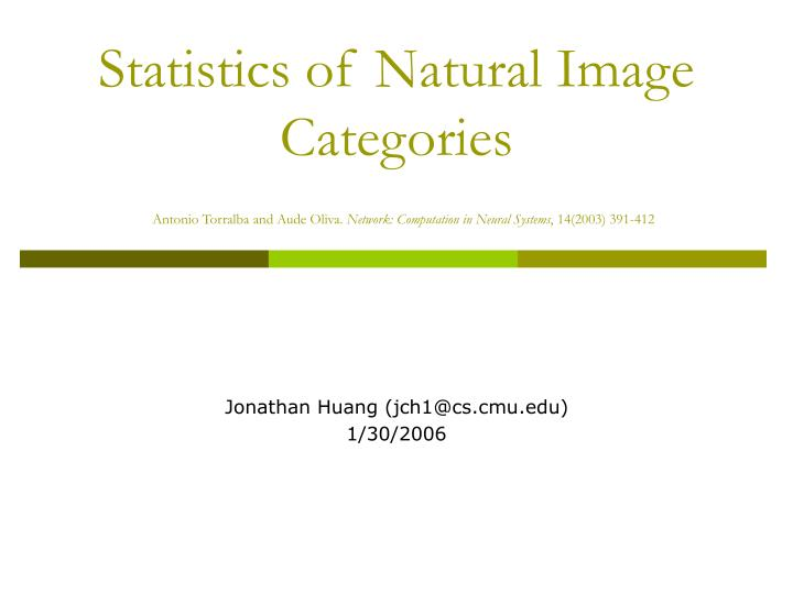 Statistics of Natural Image Categories