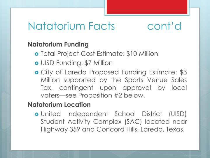 Natatorium Facts           cont'd