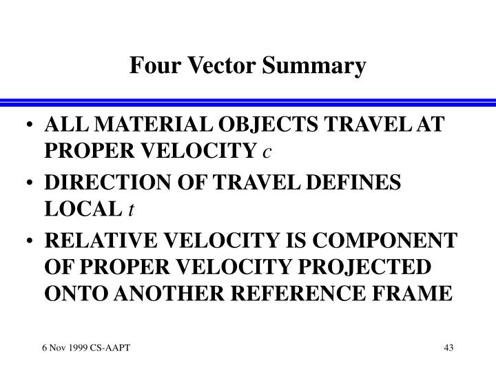 Four Vector Summary