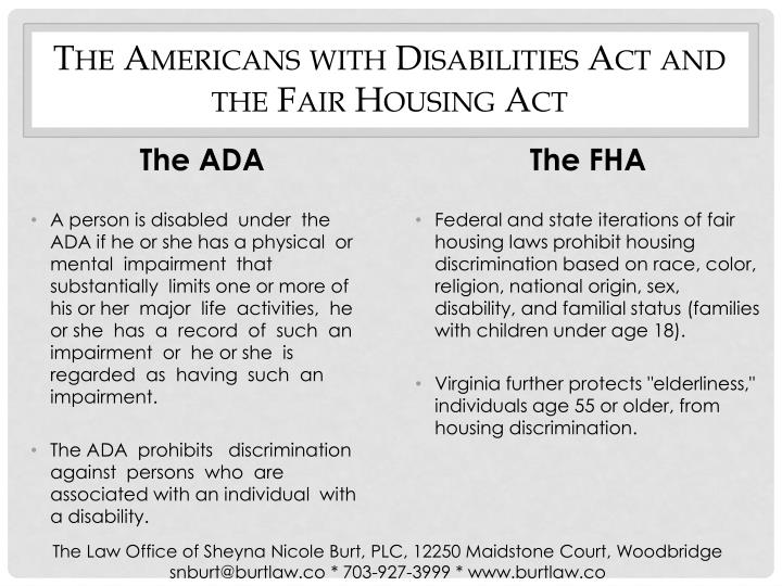 The Americans with Disabilities Act and the Fair Housing Act