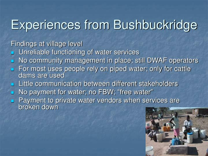 Experiences from Bushbuckridge