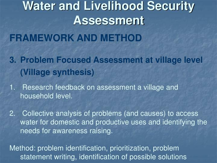 Water and Livelihood Security Assessment