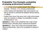 probability tree example probability of playing professional baseball