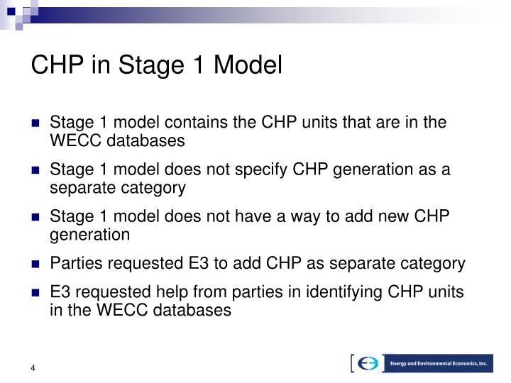 CHP in Stage 1 Model