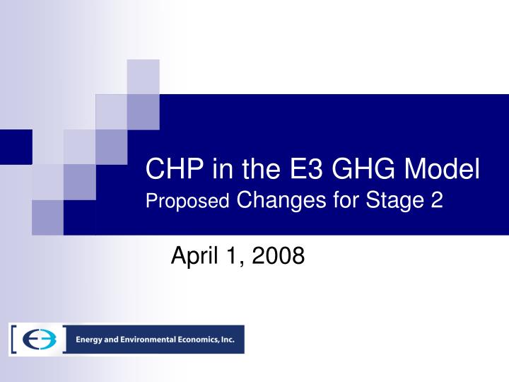CHP in the E3 GHG Model