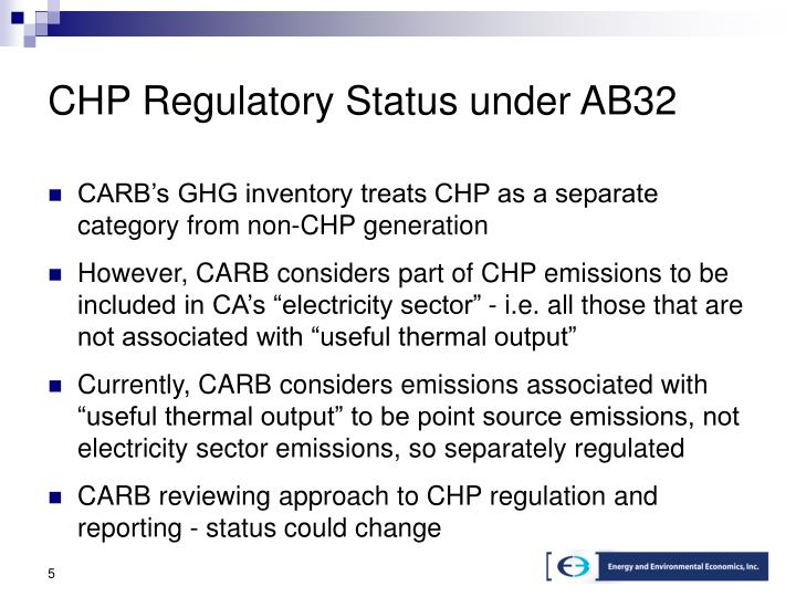 CHP Regulatory Status under AB32