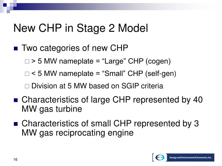 New CHP in Stage 2 Model