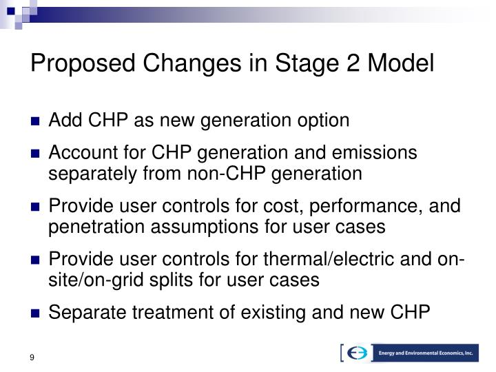 Proposed Changes in Stage 2 Model