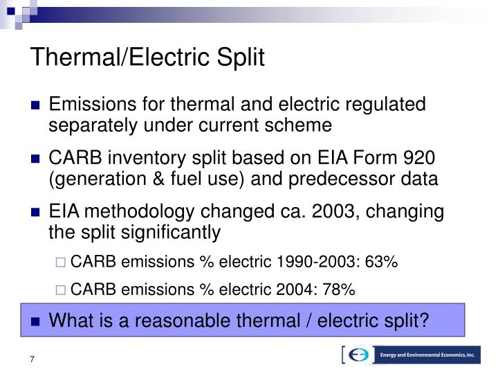 Thermal/Electric Split