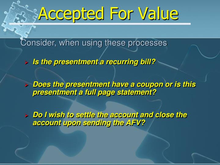 Accepted for value