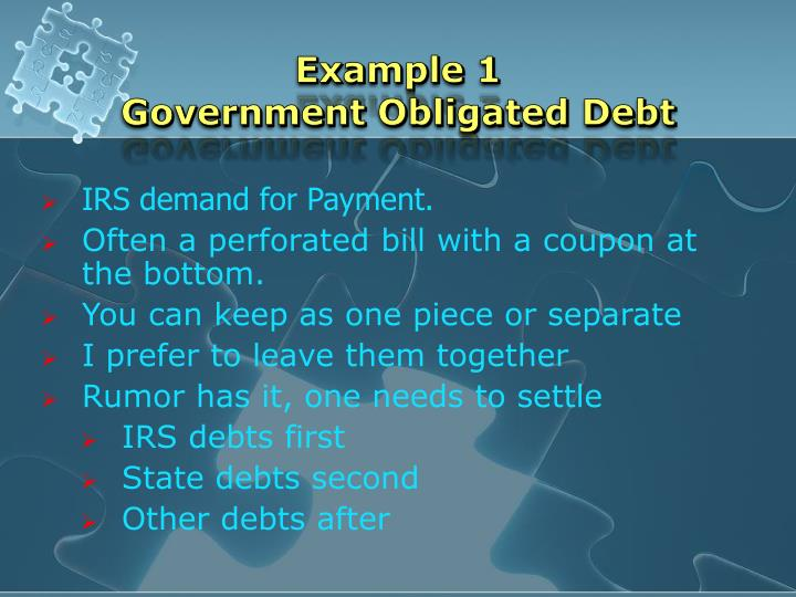 Example 1 government obligated debt