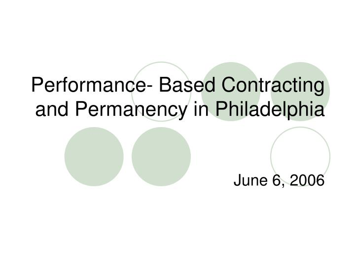 performance based contracting and permanency in philadelphia