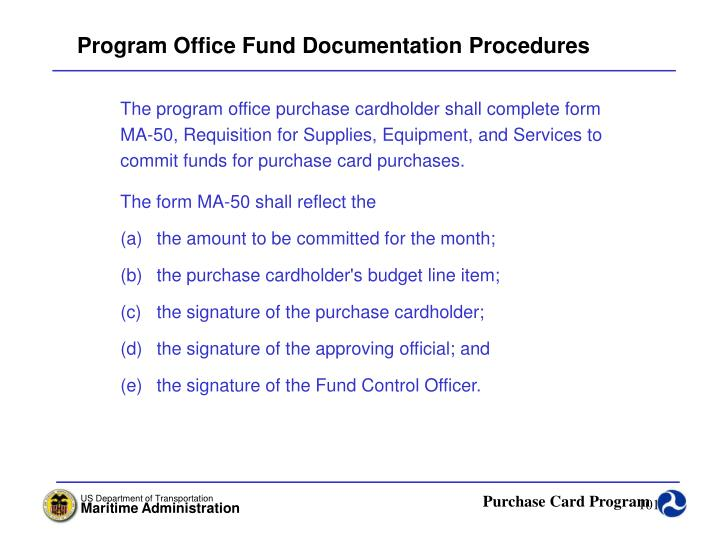 Program Office Fund Documentation Procedures