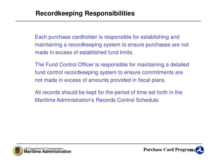 Recordkeeping Responsibilities