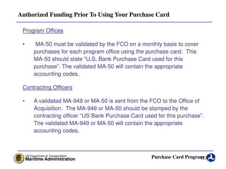 Authorized Funding Prior To Using Your Purchase Card