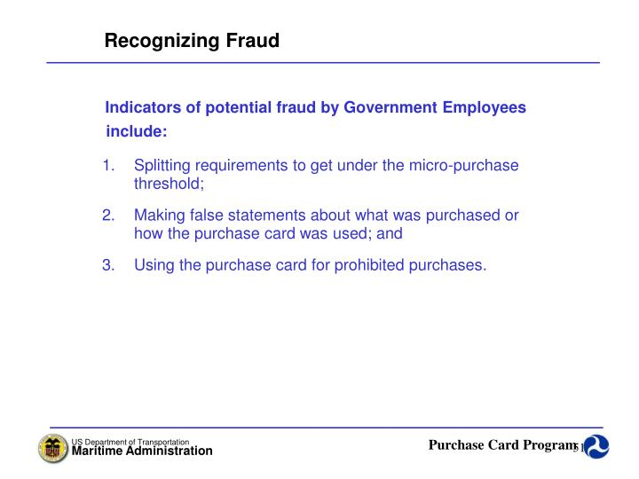 Recognizing Fraud