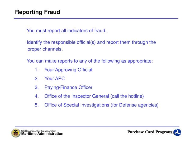 Reporting Fraud