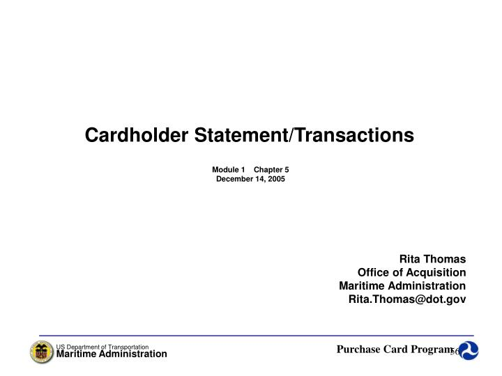 Cardholder Statement/Transactions