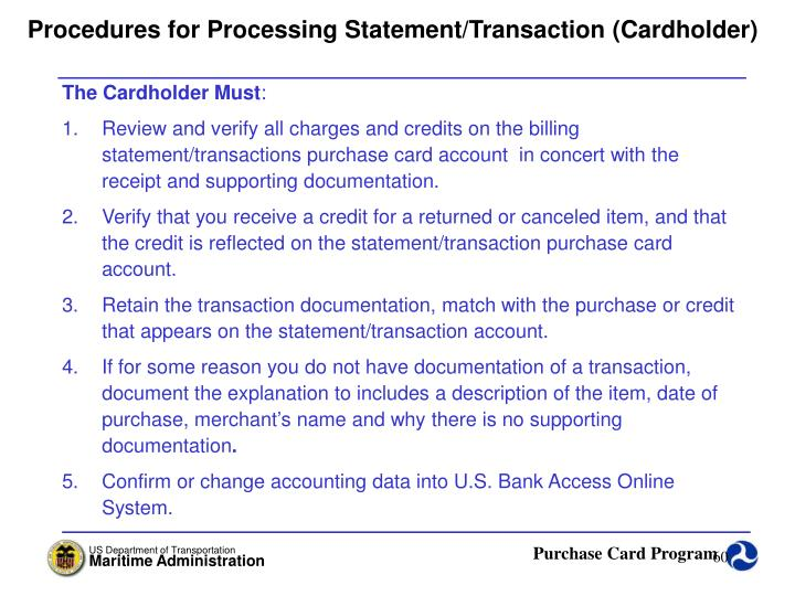 Procedures for Processing Statement/Transaction (Cardholder)