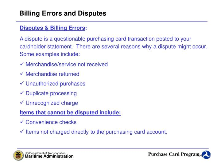 Billing Errors and Disputes
