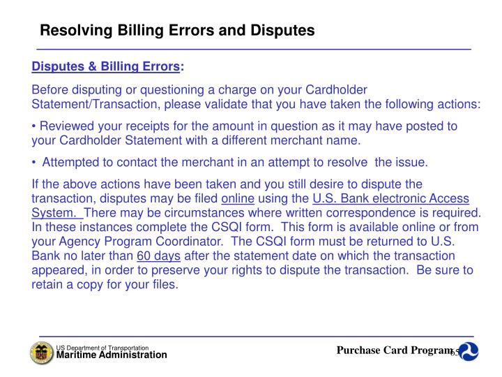 Resolving Billing Errors and Disputes