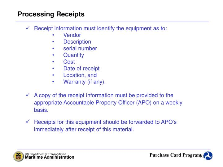 Processing Receipts