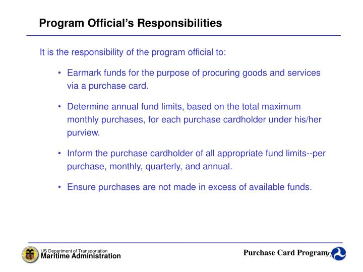 Program Official's Responsibilities
