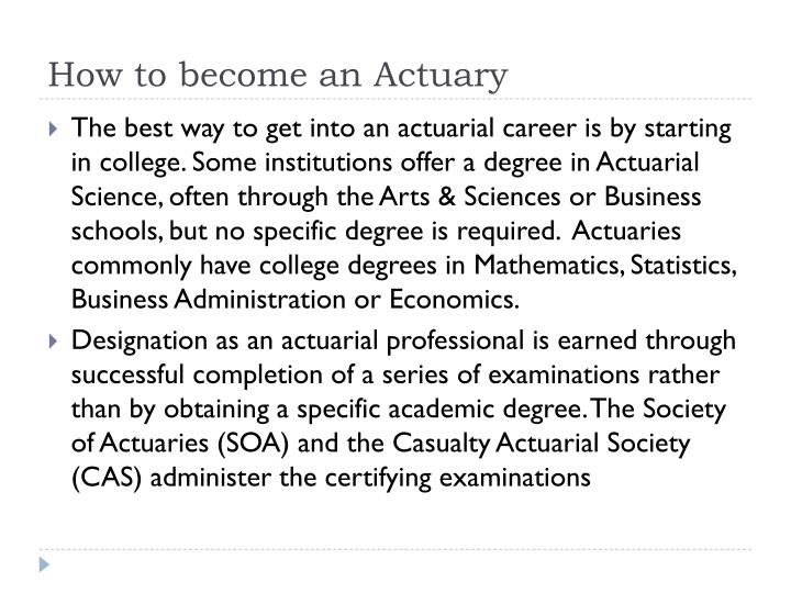 How to become an Actuary