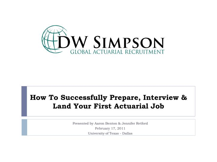 How to successfully prepare interview land your first actuarial job