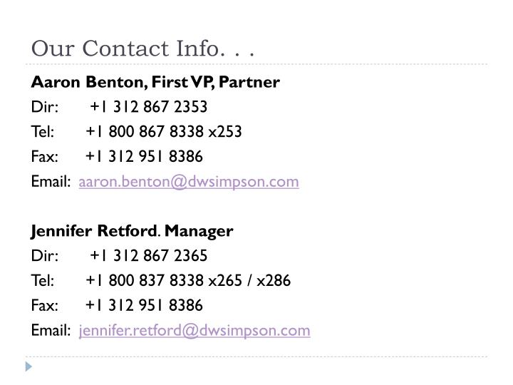 Our Contact Info. . .