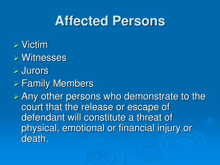 Affected Persons