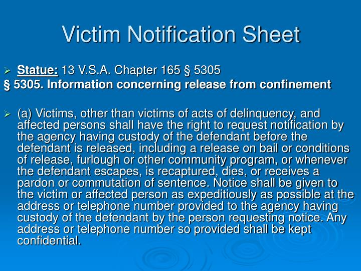 Victim Notification Sheet