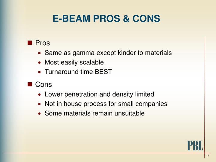 E-BEAM PROS & CONS