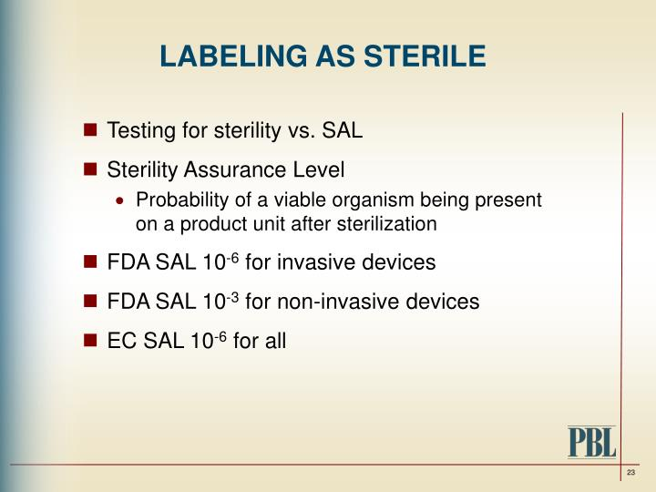 LABELING AS STERILE