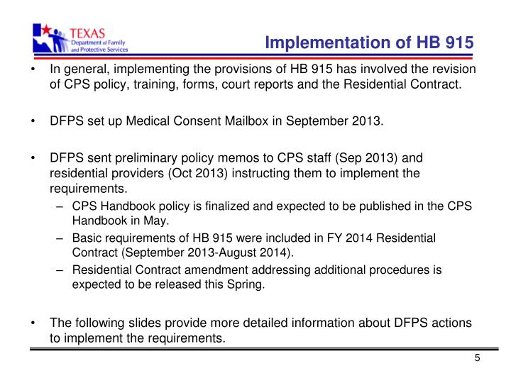 Implementation of HB 915