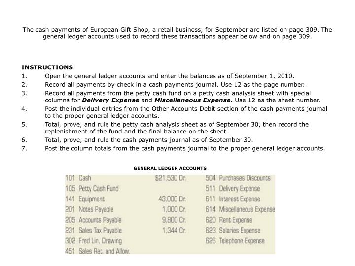 The cash payments of European Gift Shop, a retail business, for September are listed on page 309. The general ledger accounts used to record these transactions appear