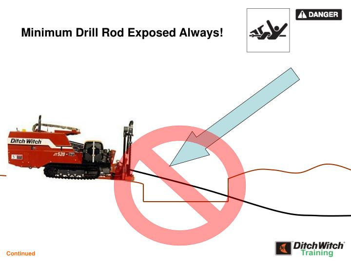 Minimum Drill Rod Exposed Always!