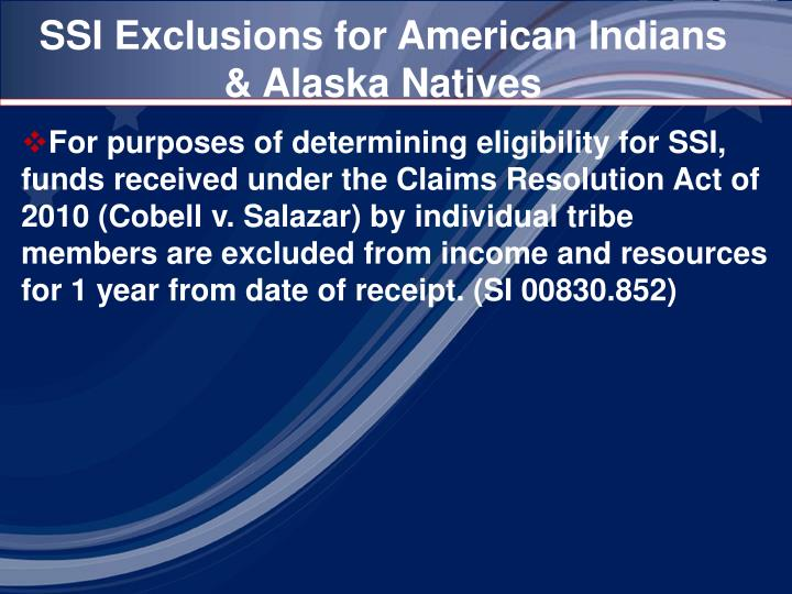 SSI Exclusions for American Indians