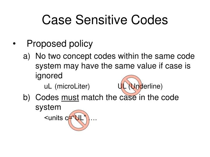 Case Sensitive Codes