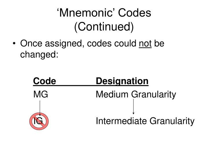 'Mnemonic' Codes