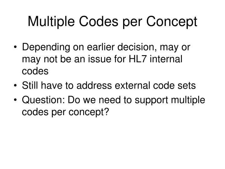 Multiple Codes per Concept
