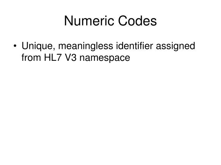 Numeric Codes