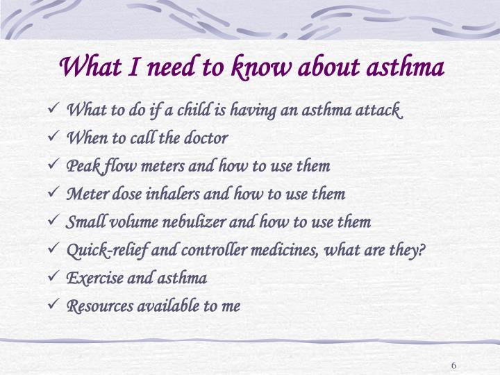 What I need to know about asthma